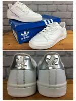 ADIDAS OG LADIES UK 6 EU 39 1/3 CONTINENTAL 80 WHITE SILVER LEATHER TRAINERS LD