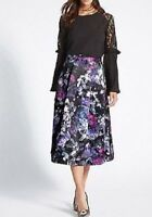 LOVELY M&S HEAVY SATIN FLORAL MIDI SKIRT NSP £49 LESS THAN 1/2 PRICE + FREE P&P
