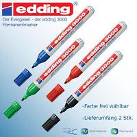 Edding 3000 permanent marker Stift wasserfest schwarz grün blau rot