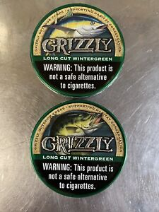 (2) Limited Edition EMPTY Grizzly Wintergreen Long Cut Can FISH TROUT Logo