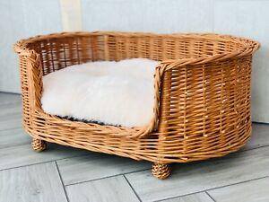 Luxury Wicker Oval Dog Bed Willow With Legs Willow Handmade Natural