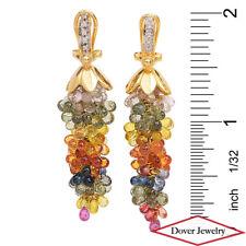 Estate Diamond 73.10ct Sapphire 14K Gold Dangle Cluster Earrings 15.0 Gr NR