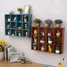 Home Wall Shelf Organizer Display Rack Cabinet with 12 Compartments-Brown