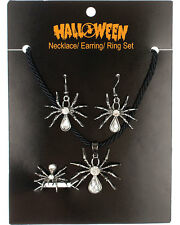 Morris Costumes Women's Hallowen Spider Necklace Ring Earring Set. ALH15223