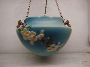 Roseville Pottery Apple Blossom 1949 Blue Hanging Basket Planter & Chain 361-5