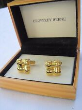 Geoffrey Been Gold-Tone Woven Four-Square Cufflinks, NOS, Wood Box, $35  Retail