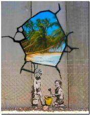 "BANKSY STREET ART CANVAS PRINT Tropical Paradise 32""X 24"" stencil poster"