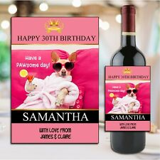 Personalised Happy Birthday Wine Champagne Bottle Sticker Label N191 Any Age