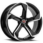 4-Revolution R20 18x8 5x112 +40mm Black/Machined Wheels Rims 18