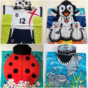 Children's Hooded Poncho Towels Boys Girls Kids Footballer Penguin Shark Ladybir