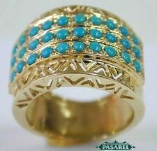 New 14k Yellow Gold Turquoise Designer Ring Size 6.5