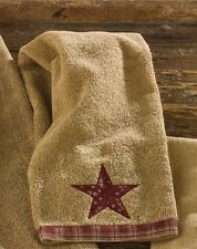 Country Primitive Sturbridge Star Fingertip Towel Terry Rustic Cabin Bath Decor