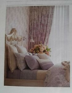 NIP Ralph Lauren King Flat Sheet Alessandra Hayden Cream Purple Gray 100% Cotton