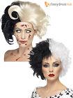 Ladies Black White Wig Dalmatian Cruella Deville Womens Halloween Fancy Dress