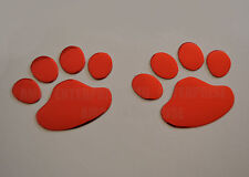 RED Chrome Effect Paw Dog Cat Print Badges for Jeep Grand Cherokee Commander 4x4