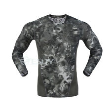 Mens Army Camo Long Sleeve Quick Dry Pullover T-shirts Tactical Combat Sport Tee
