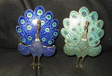2qty Siam Sterling Enamel Hinged Peacock Brooch Brooches Broach Broachs