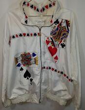Blackjack 80s Windbreaker white szXL lined unisex cards 21 vegas gambling