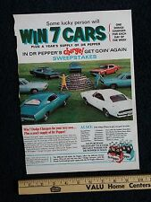 Dr Pepper Print Ad 9x13 feat. 1968 Dodge Charger, Advertisement Mopar Soda