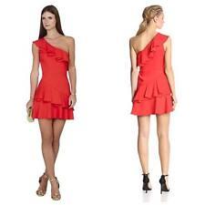 BCBG MAX AZRIA Calinda One Shoulder Ruffle Dress Size 8 Semi Formal Wedding NWT
