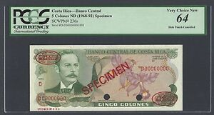 Costa Rica 5 Colones ND(1968-92) P236s Specimen TDLR N001 Uncirculated