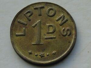 Liptons 1d Brass Token, 24mm, 5.32g, Uniface, Glasgow? Tea Related? Scarce