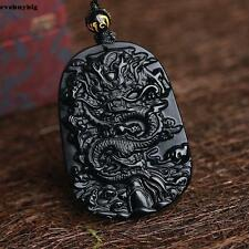 Natural Black Obsidian Hand Carved Dragon Lucky Blessing Beads Pendant Necklace/