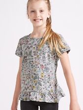 New Girls Grey Floral Print T-Shirt Short Sleeve Ages 8 - 14 Free P+P