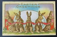 Bunny Rabbits with Red Ribbon Around Egg~~ Antique~Easter Postcard-p687