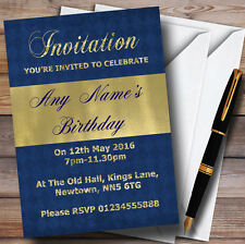 Blue And Glitter Look Gold Birthday Party Personalised Invitations