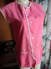 S True Vtg 70s Hot Pink Home Made Beauty Salon Relic Frock Shirt Top Womens