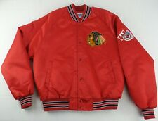 RAREVintage ChalkLine NHL Chicago Blackhawks ButtonUp Satin Hockey Jacket Size L