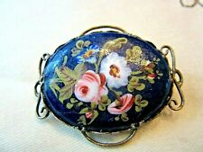 Antique Silver - Silverplate Floral On Blue Enamel Brooch, Pendant