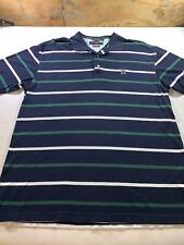 Tommy Hilfiger  Mens Dark Blue Green And White Stripes  Polo Large