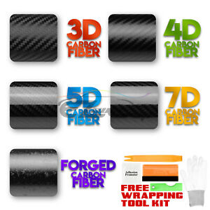 3D 4D 5D 7D Premium Matte Gloss Semi Black Carbon Fiber Vinyl Wrap Sticker