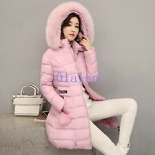 Women's Winter Thicken Fur Collar Hooded Long Duck Down Jacket WARM Coat Parka