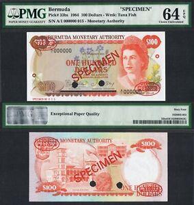 1984 BERMUDA 100 DOLLARS A/1 000000 P-33bs PMG 64 EPQ> > > >QUEEN E II SPECIMEN