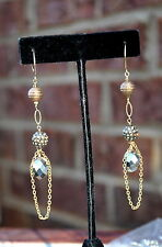 Gold Vermeil, Crystal Pave, 14K gold Filled Long Chain Earrings