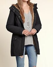 NWT Hollister Faux Fur Lined Hoodied Parka Jacket Coat Outwear, Black, Large