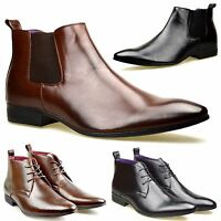 Mens Leather Lined Smart Formal Casual Lace Up Boots Shoes UK SIZE 6 7 8 9 10 11