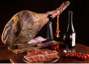 Prosciutto crudo spagnolo jamon serrano iberico dolce box con morsa coltello 5kg