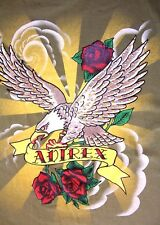 Gently Worn T-Shirt Avirex w Bling on Eagle's Wings Size Med Red Roses