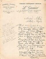 Ancienne lettre - Fabrique d'instruments agricoles L. GARNIER à BONNECOURT 1910