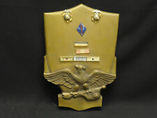 RARE BRONZE WALL PLAQUE w/ USMC US MARINE CORPS STERLING EAGLE GLOBE PIN & MEDAL