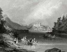 Autriche Danube vue de Grein Perg Gravure originale 1876