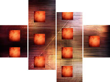 Large Abstract Canvas Picture Burnt Orange Squares Wall Art Split Multi 4 Panel