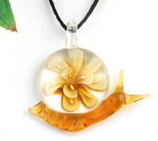 1pc lovely snail flower Lampwork Glass bead pendant Necklace p870_5