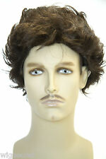 Chestnut Brown Brunette Medium Straight Wavy Costume Men's Wig Wigs