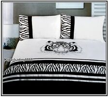 280TC Black White Angry Tiger Embroidery Pintuck 3pc KING QUILT DOONA COVER SET
