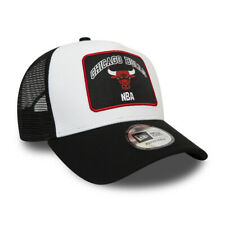 NEW ERA CHICAGO BULLS TRUCKER CAP.9FORTY PATCH A FRAME BLACK BASEBALL HAT W20 68